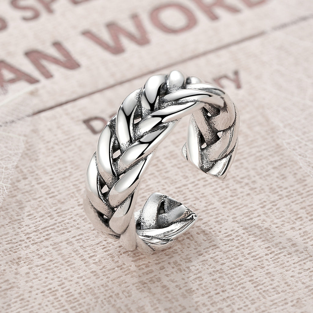 925 Sterling Silver Triple Twisting Braided Band Cuff Open Ring Adjustable Stackable Ring Fine Jewelry VSR003