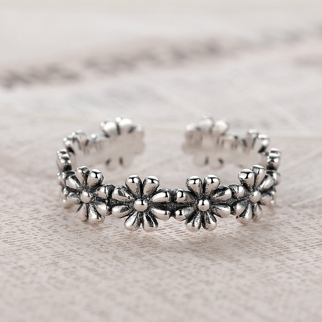 Pure Silver Flower Floral Adjustable Open Finger Rings 925 Sterling Silver for Woman Wedding Gift Rings VSR046