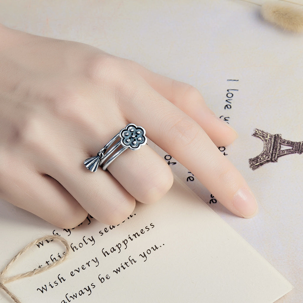 925 Sterling Silver Seedpod of The Lotus Open Finger Rings Women Vintage Fine Jewelry Gift  VSR054