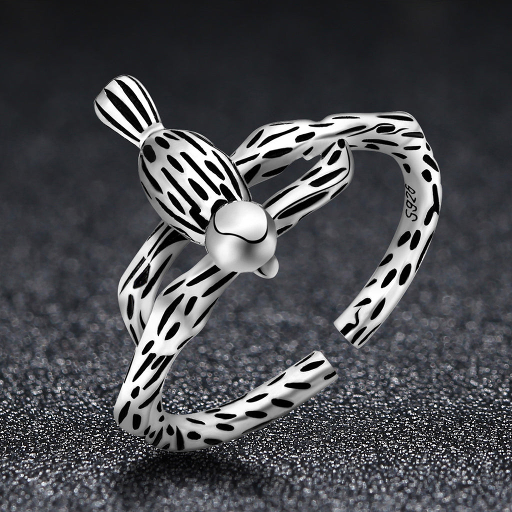 100% Genuine 925 Sterling Silver Solid Bird Animal Adjustable Finger Ring for Women Stripe Ring Fine Jewelry  VSR062