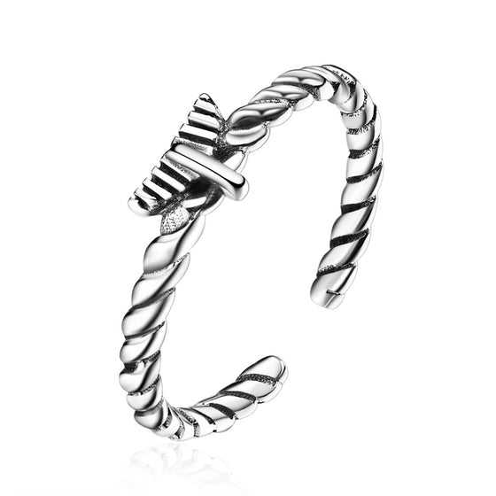 925 Sterling Silver Hemp Rope Adjustable Open Finger Ring Unisex Vintage Fine Jewelry  VSR064