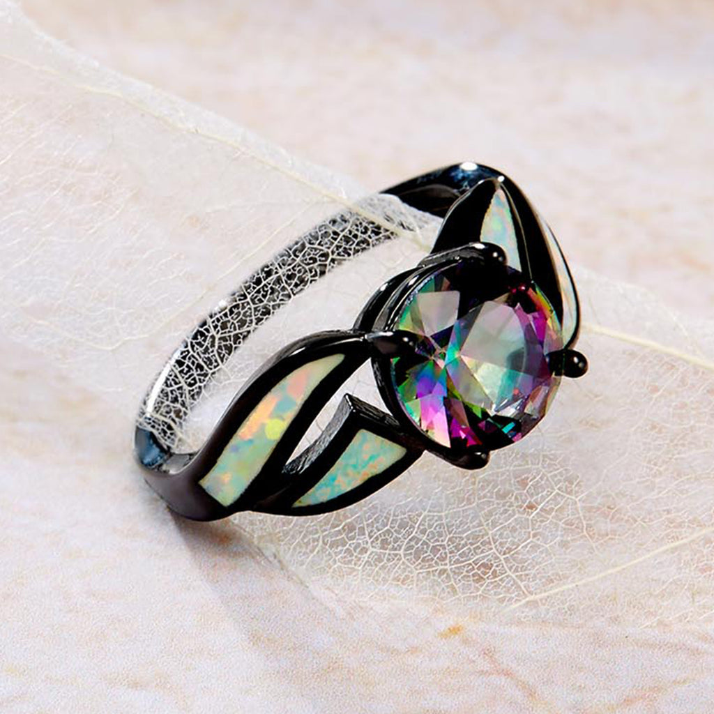 100% Authentic 925 Sterling Silver Glass & Opal Gemstone Finger Ring for Women Fine Jewelry VSR065