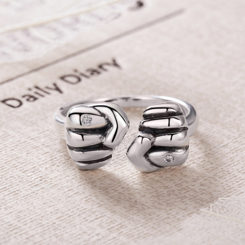 925 Sterling Silver Fists Courage Adjustable Open Cuff Rings for Women Unisex Power Fine Jewelry VSR083