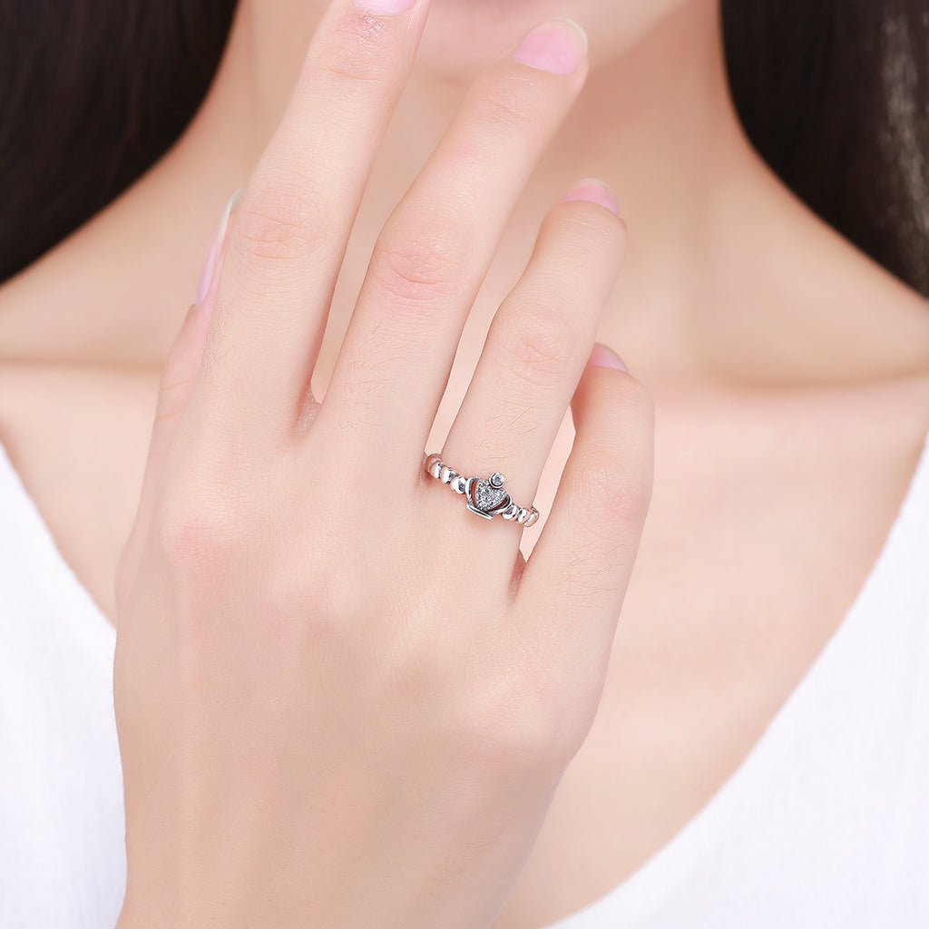 2017 925 Sterling Silver Queen Crown Heart Stackable Adjustable Finger Open Ring Women Fine Jewelry Gift Bijoux VSR142