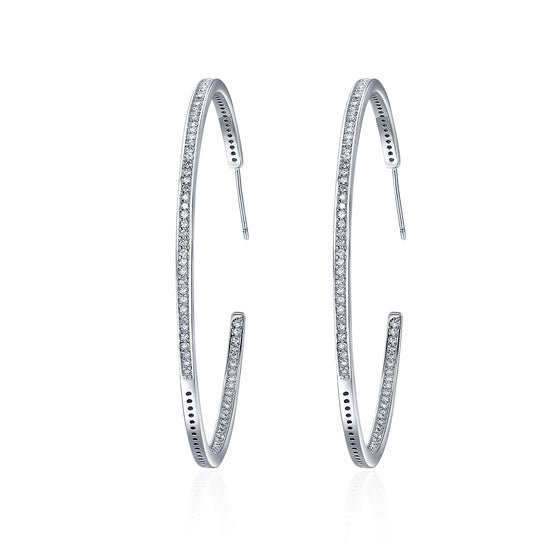 New Collection Silver Color Luminous Clear CZ Circle Hoop Earrings for Women Fashion Earrings Jewelry Gift YIE115