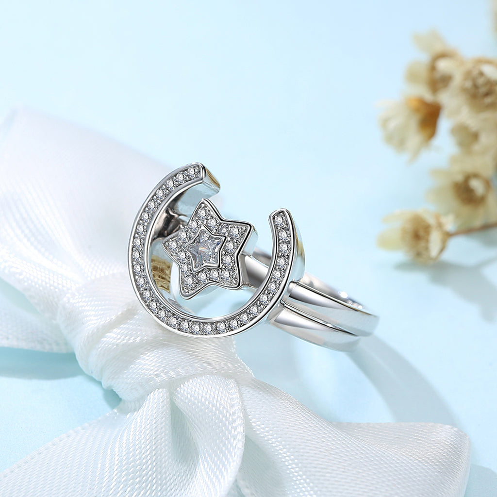 New Collection Platinum Plated Star & Moon Statement Finger Ring Set Clear CZ Ring for Women Wedding Jewelry YIR185