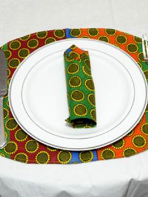 """Ku Mehni"" African Print Placemat Setting Set of 6"