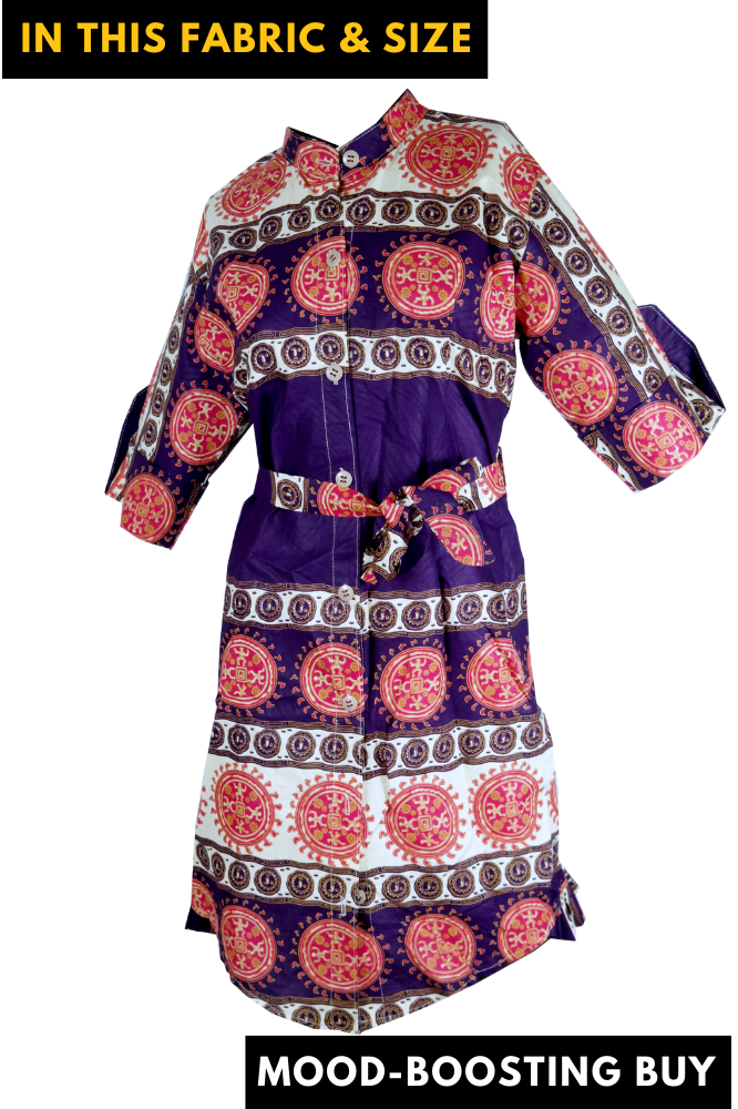 """Dress for Fun"" African Print Shirt Dress -Size 10-12"