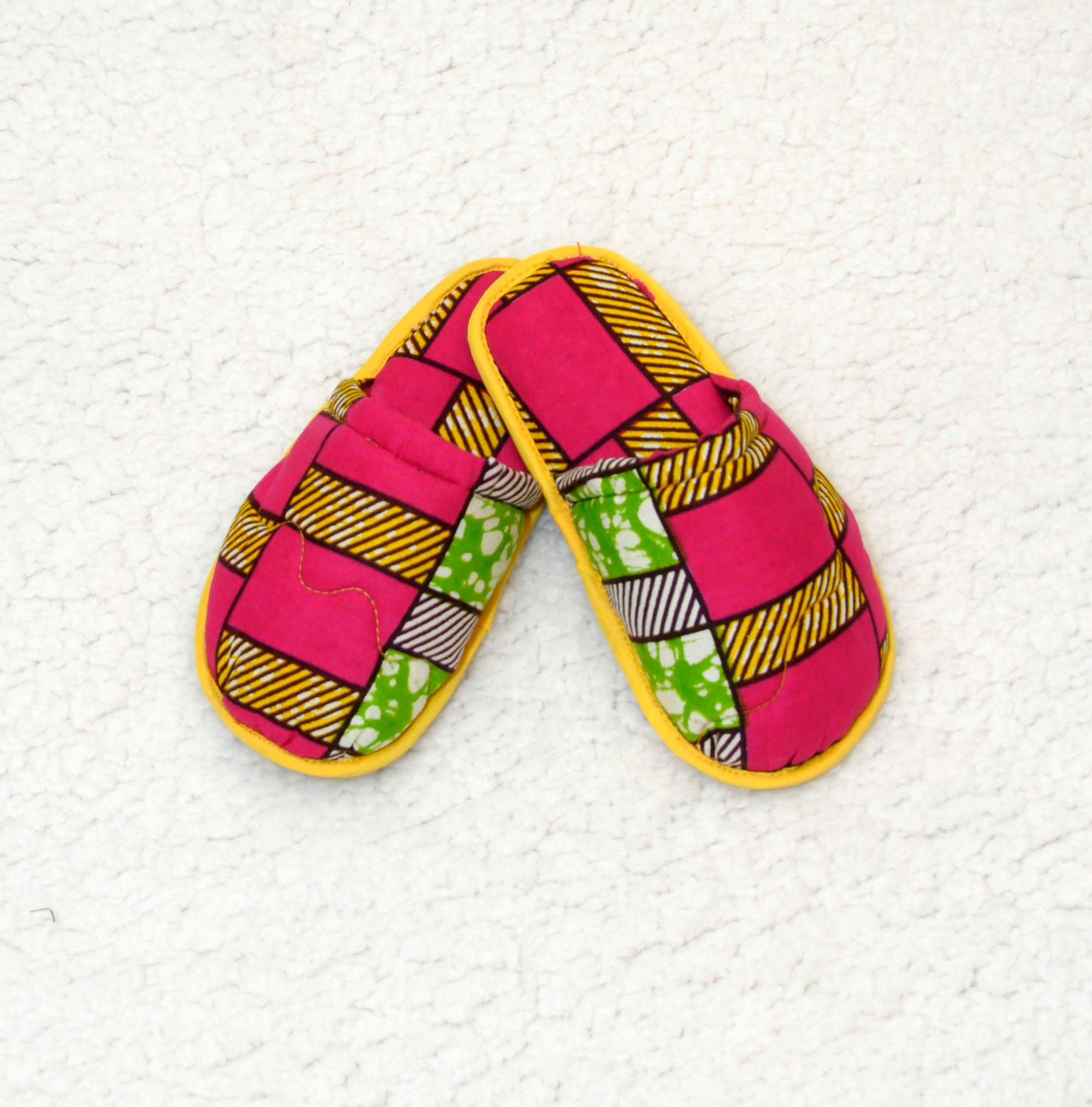 African Print Comfort Bedroom Slippers (Kids) **MARKET DEAL**