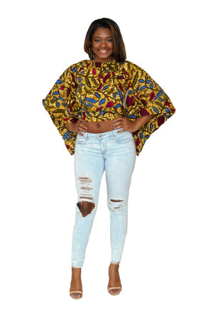 DARE TO SHINE African Open Back Top