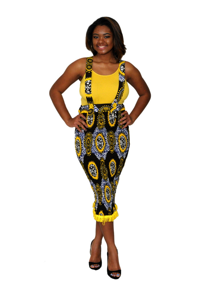 Fine and Fringe African Print Suspender Skirt
