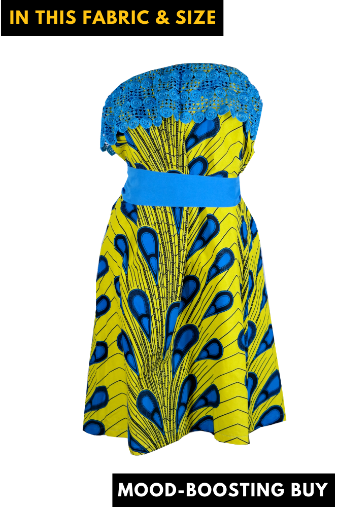 Beyond Ordinary African Print Dress with Lace - M/L