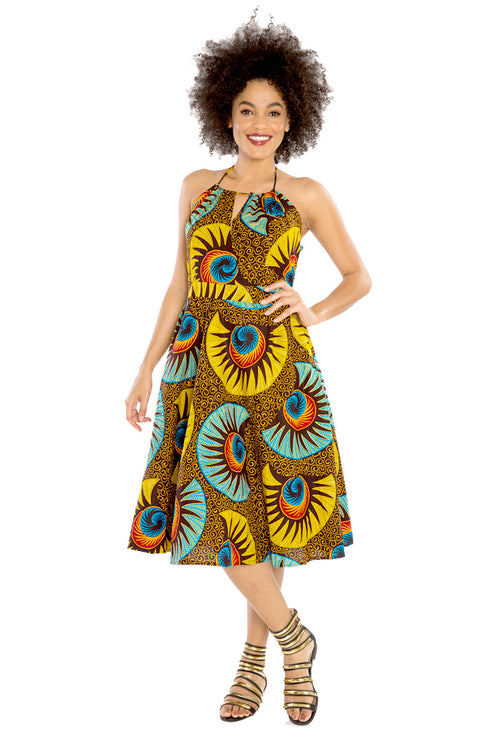 Dig My Back African Print Halter Dress