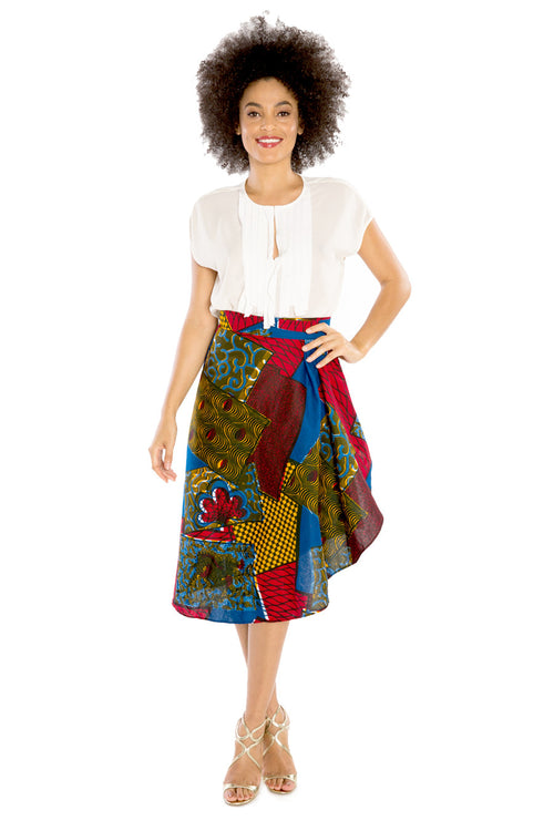 Easy To Love African Print Wrap Style Skirt