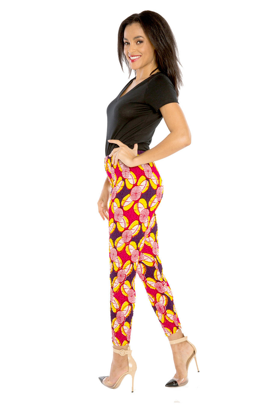 African Print Afri-Jeggings Fitted Pants