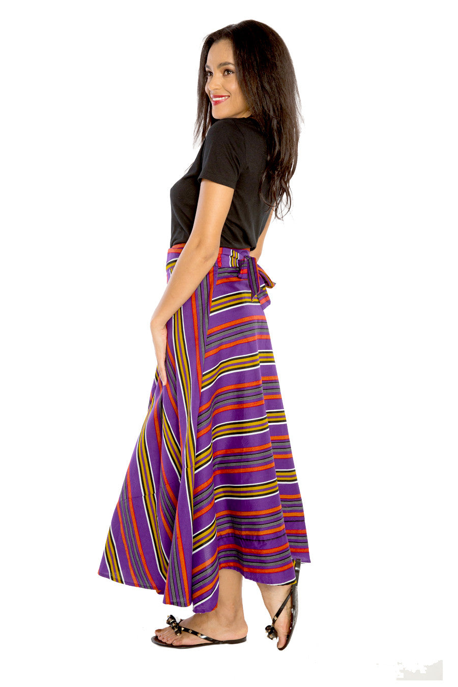 African Print Long Flowy Maxi Skirt - Wrapped in Print (Long)