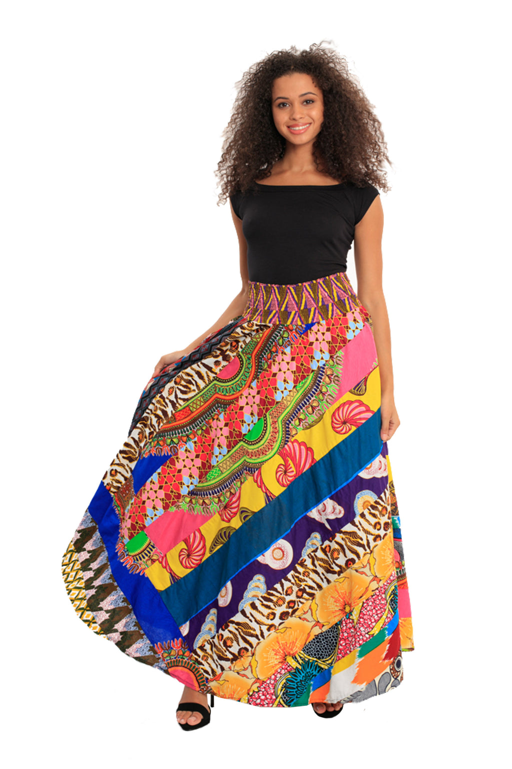 Boho Patch African Print Smocked Skirt