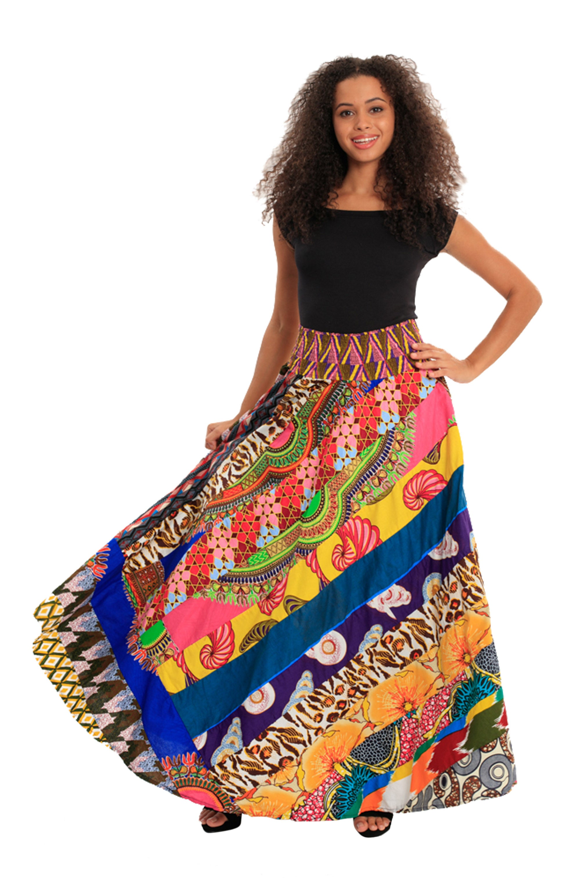 Boho Patch African Print Skirts