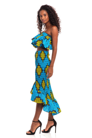 Radiant Smile African Print Smocked Skirt