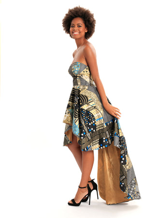 Cavalla Beauty African Print High Low Train Gown
