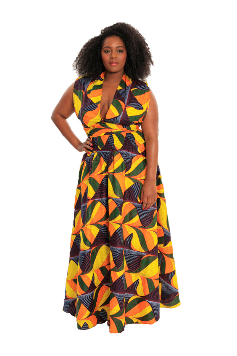 BeYouTy Convertible African Print Maxi Dress