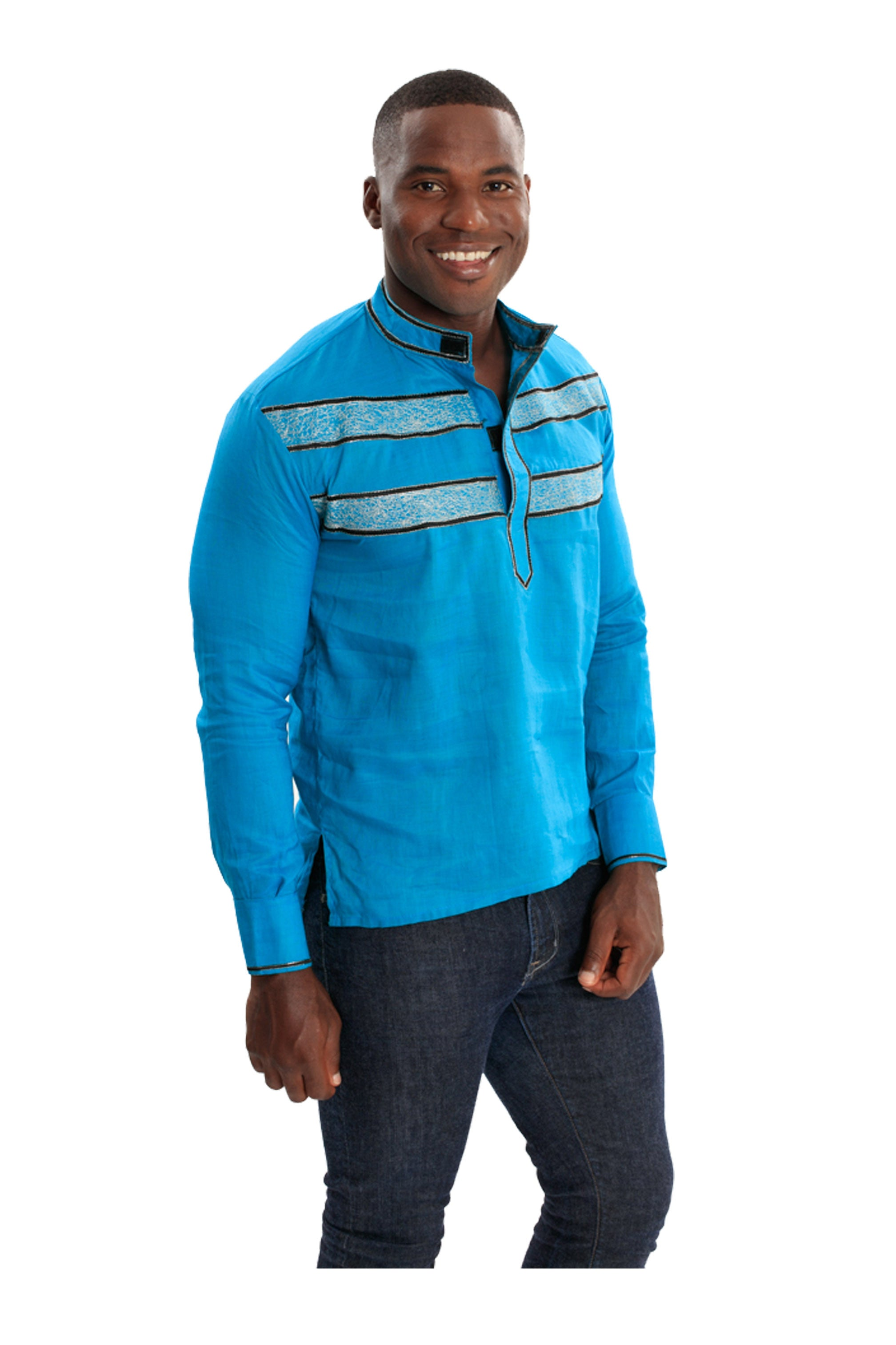 I Represent Today's Africa | Men's Embroidered Long Sleeve Linen Shirt