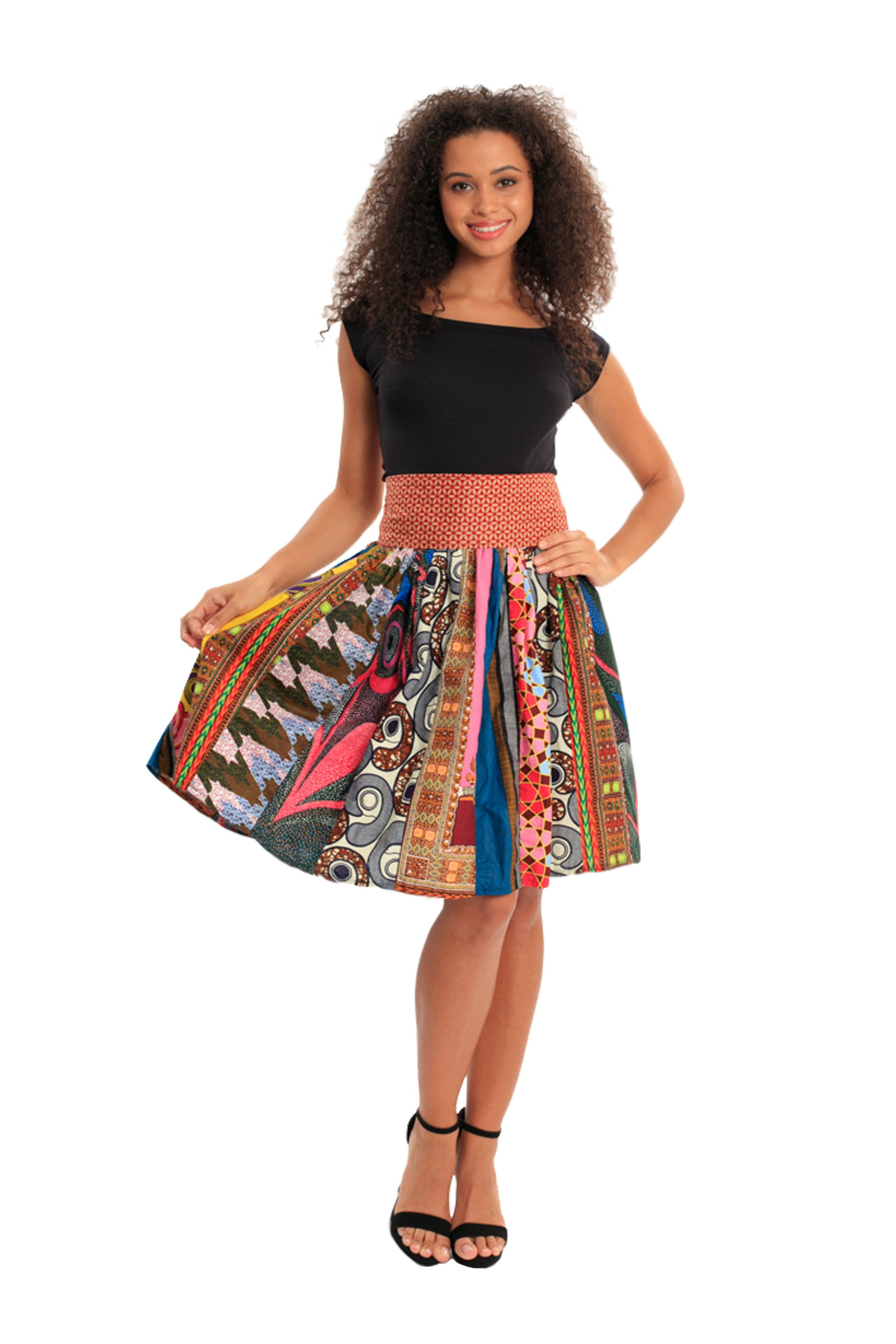 Patched for Sass African Print Skirt