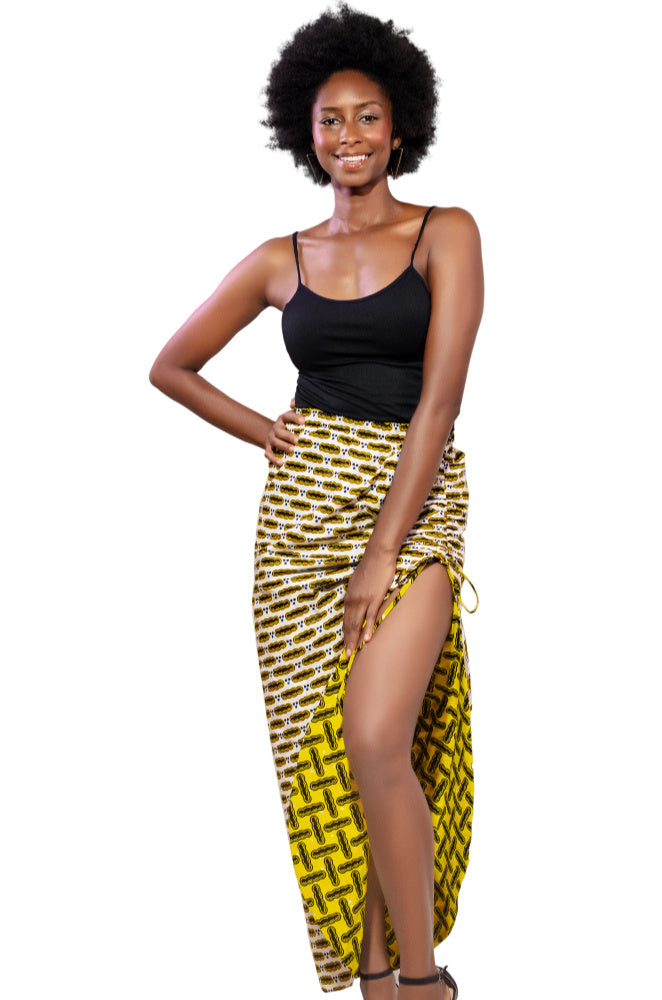 Secure AF (And Fun) Drawstring African Print Skirt