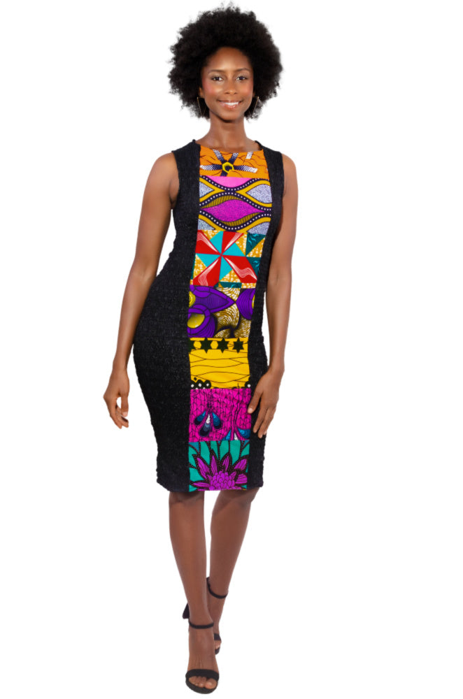 African patch dress sustainable fashion wax and wonder