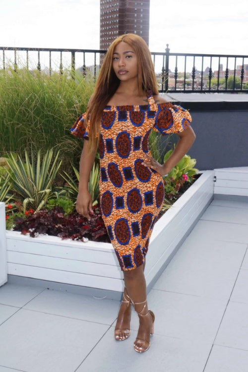 Seize The Day African Print Bodycon Smocked Dress