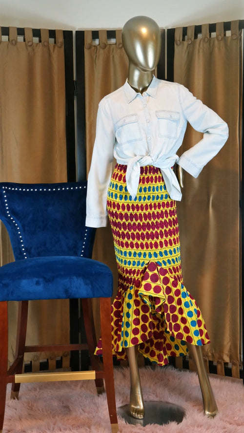 Radiant Smile African Print Skirt LARGE