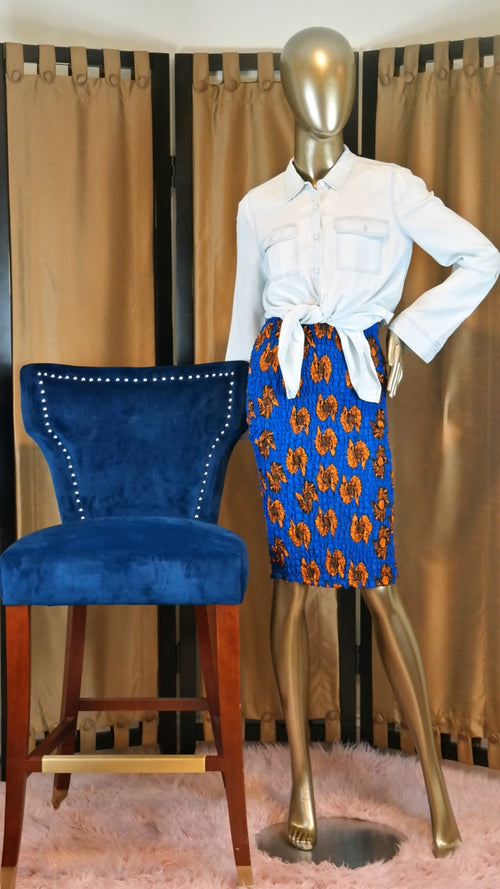 Smile With Me African Print Bodycon Skirt XSMALL