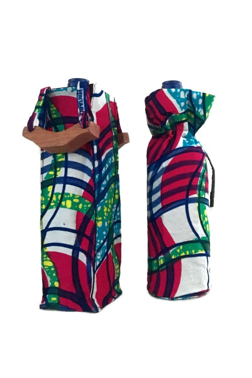African Print Reusable Wine Bags
