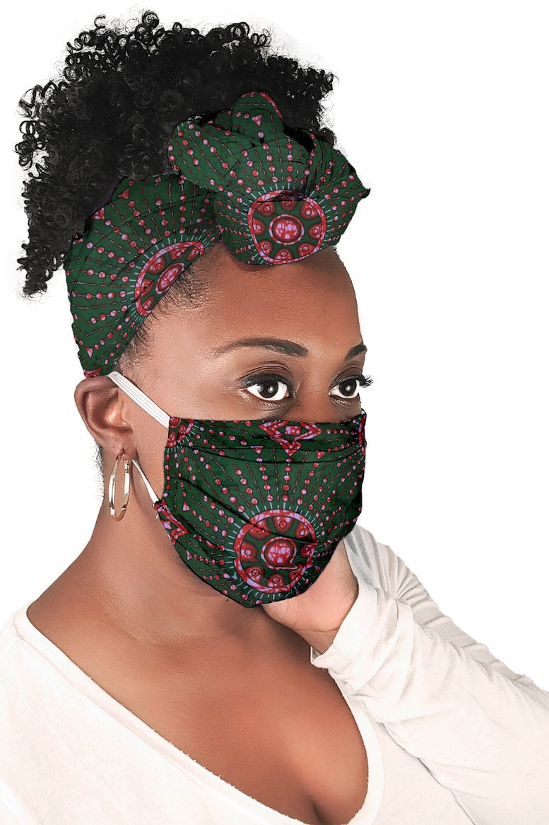 Emerald Kulinda Face Mask + Headwrap Matching Set