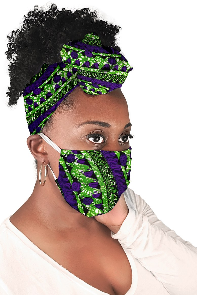 Deep Purple Kulinda Face Mask + Headwrap Matching Set