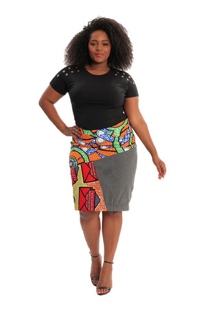 african patch skirt sustainable fashion wax and wonder liberian