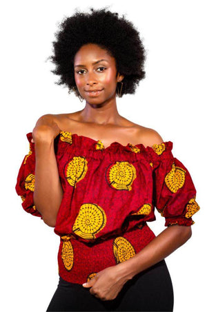 Falling in Love African Print Off Shoulder Top