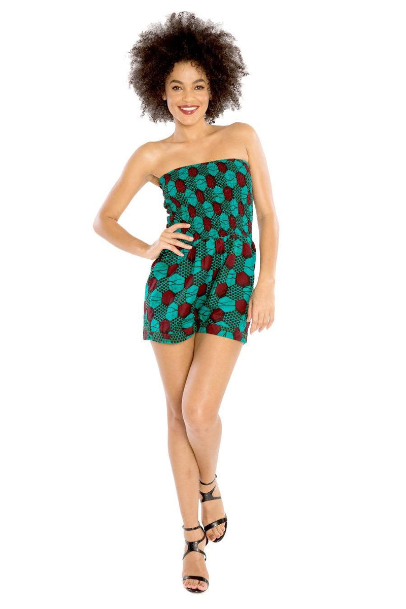 african romper jumpsuit strapless african print fashion wax and wonder