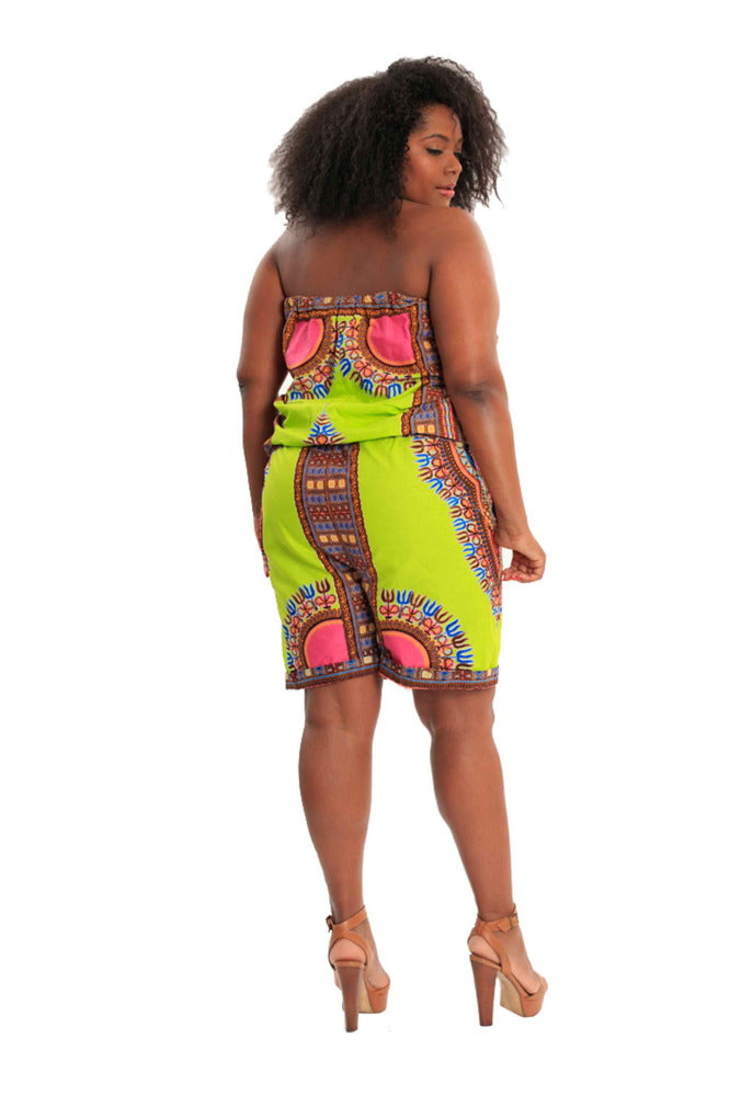Jump for My Love African Print Romper (Knee-Length)