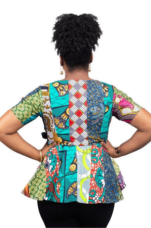 african wrap top patch sustainable fashion