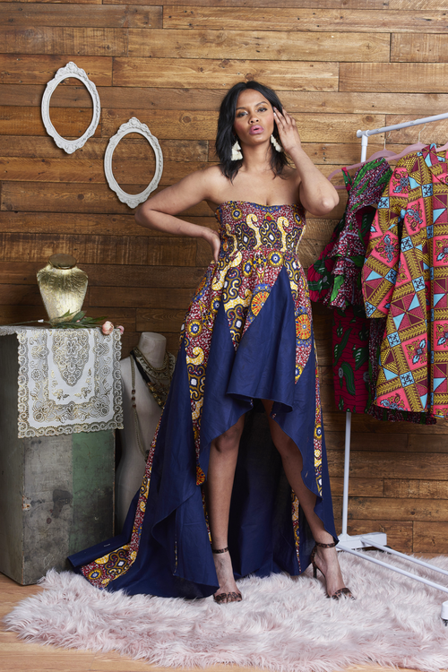 Fire and Ice Elegant African Print High-Low Gown