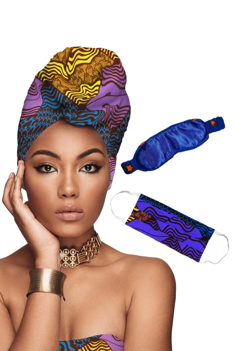 African Eye Mask + Headwrap + Face Mask Matching Set Bundle Deal