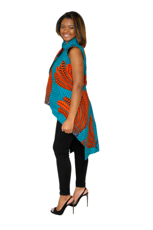 Duro Asymmetrical African Print High-Low Jacket