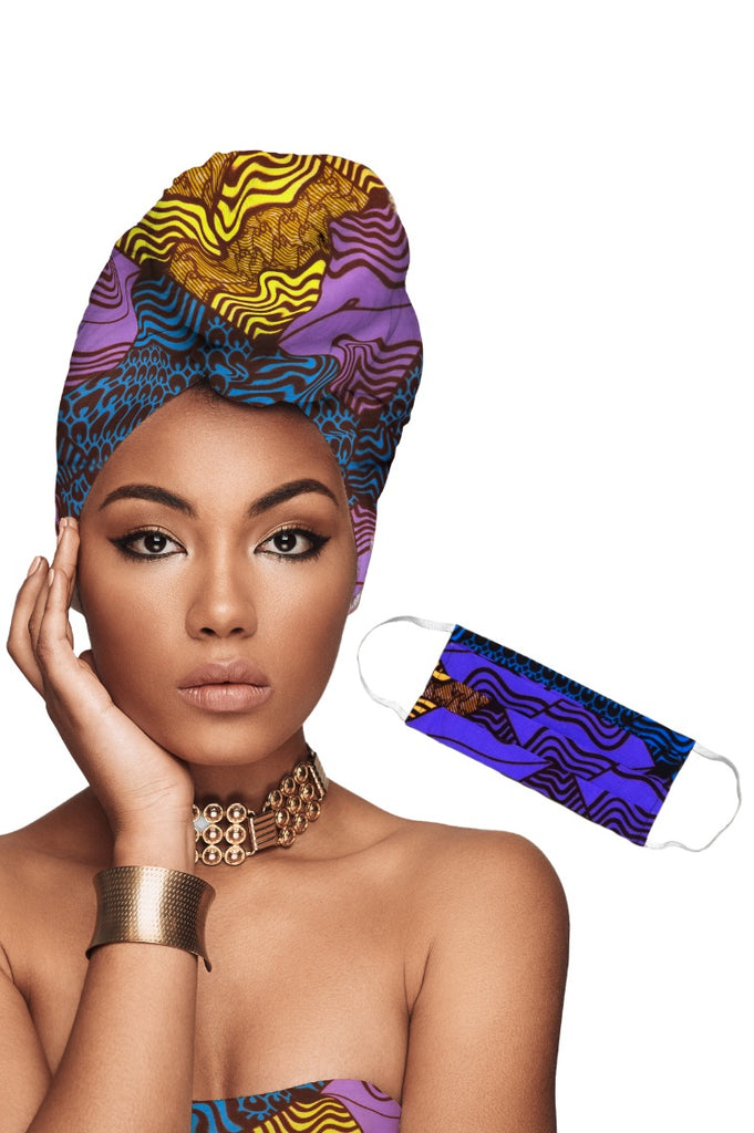 African Headwrap + Face Mask Matching Set