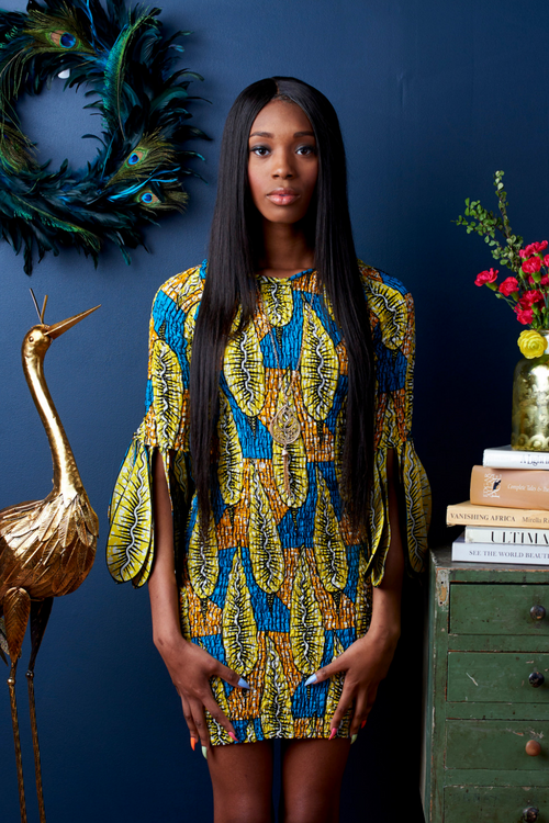 Pretty as a Peacock African Print Feather Sleeve Dress