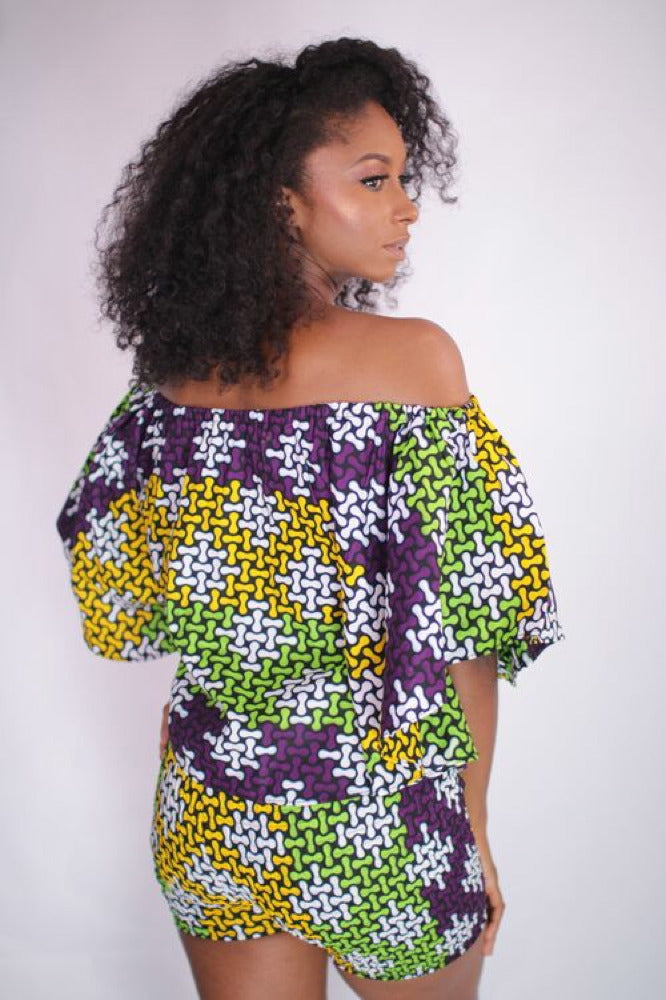 Flowering Beauty African Print Off Shoulder Top