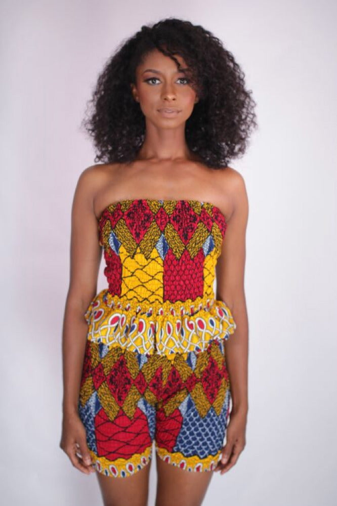Vibes African Peplum Tube Top