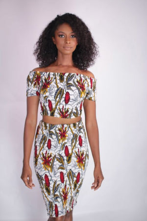 Smile With Me African Print Smocked Bodycon Skirt