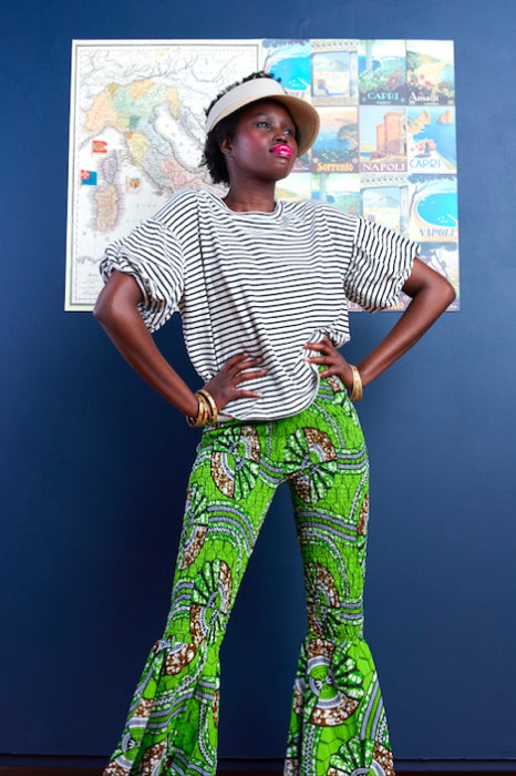 Limpopo (Let's Have Fun) African Smocked Bell-Bottom Pants