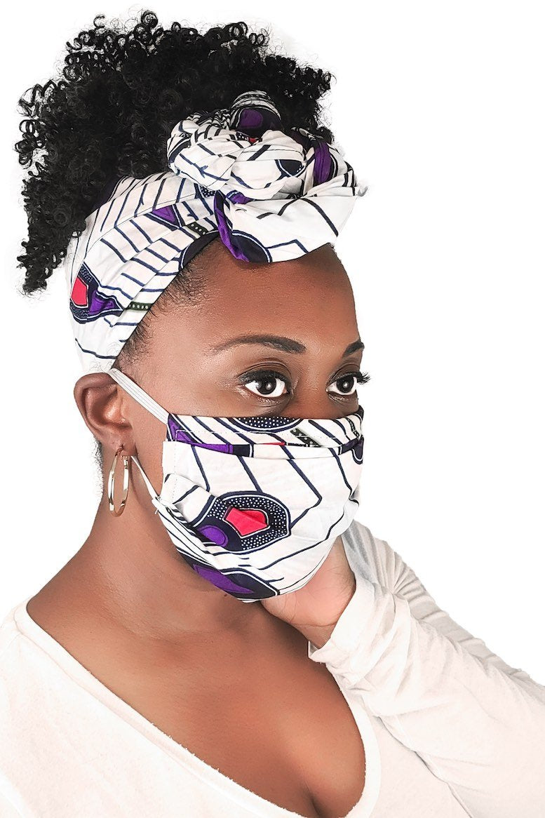 White African Face Mask and Headwrap Matching Set